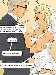 He is shooting his black seed deep inside my white pussy - Wedding surprise by Interracial comics