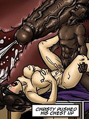 The black man relaxed his body on top of Christy, leaving his pulsating cock inside her - Tricked by Illustrated interracial 2016